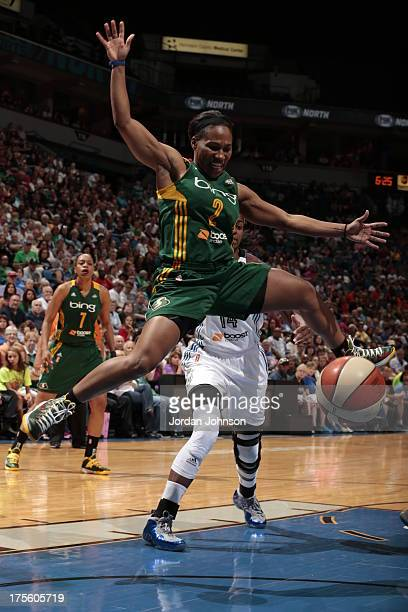 Temeka Johnson of the Seattle Storm loses the ball against the Minnesota Lynx during the WNBA game on August 4 2013 at Target Center in Minneapolis...