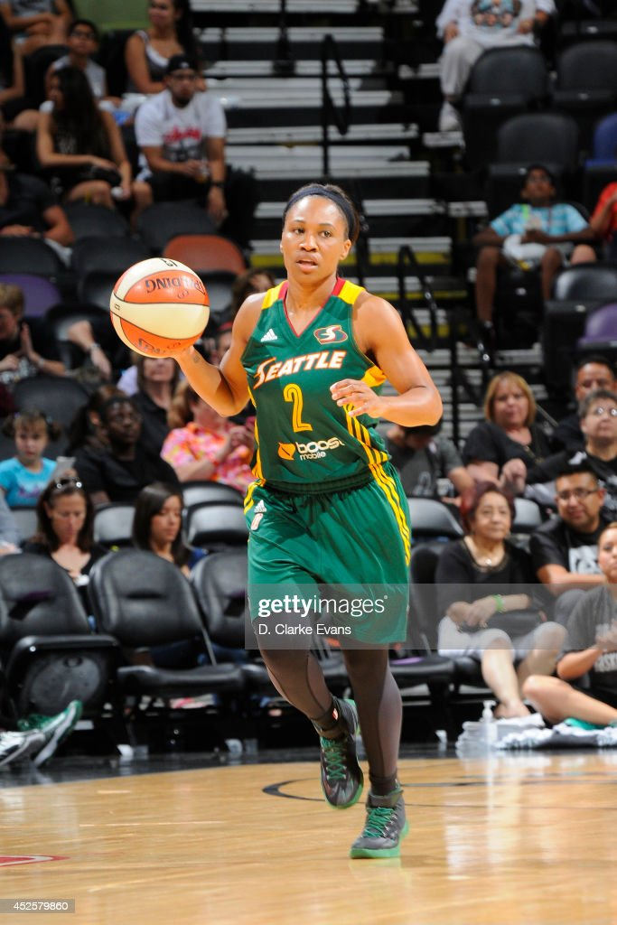 Temeka Johnson #2 of the Seattle Storm moves the ball up-court against the San Antonio Stars at the AT&T Center on July 11, 2014 in San Antonio, Texas.
