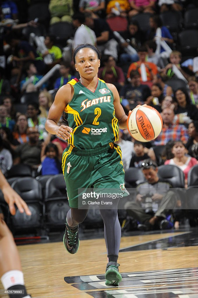<a gi-track='captionPersonalityLinkClicked' href=/galleries/search?phrase=Temeka+Johnson&family=editorial&specificpeople=217716 ng-click='$event.stopPropagation()'>Temeka Johnson</a> #2 of the Seattle Storm moves the ball up-court against the San Antonio Stars at the AT&T Center on July 11, 2014 in San Antonio, Texas.