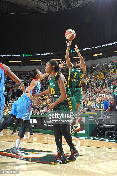 Temeka Johnson of the Seattle Storm shoots against the Atlanta Dream during the game on July 14 2013 at Key Arena in Seattle Washington NOTE TO USER...