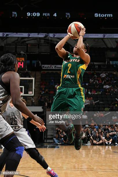 Temeka Johnson of the Seattle Storm shoots during a game against the San Antonio Stars at ATT Center on June 13 2014 in San Antonio Texas NOTE TO...