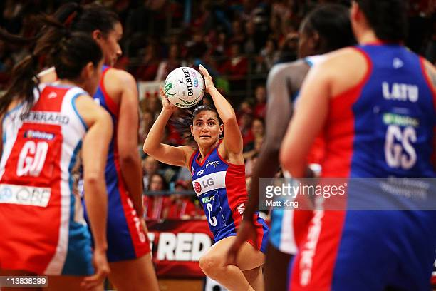 Temepara George of the Mystics catches the ball during the ANZ Championship Semi Final match between the Swifts and the Mystics at Sydney Olympic...