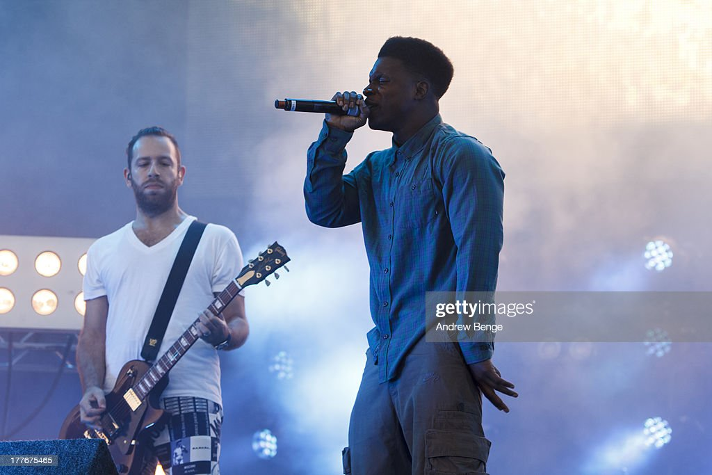 Tempa T of Chase and Status performs on stage on Day 3 of Leeds Festival 2013 at Bramham Park on August 25, 2013 in Leeds, England.