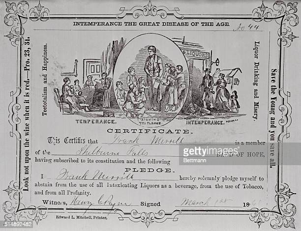 Temperance Society Certificate Pledge to abstain from drinking signed March 1866