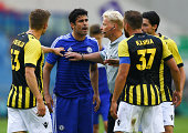 Tempers flare between Diego Costa of Chelsea and Guram Kashia of Vitesse Arnhem during the pre season friendly match between Vitesse Arnhem and...