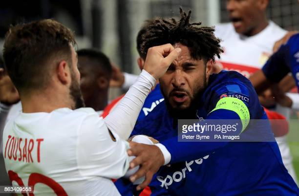 Tempers flare between Everton's Ashley Williams and Lyon's Lucas Tousart during the UEFA Europa League Group E match at Goodison Park Liverpool