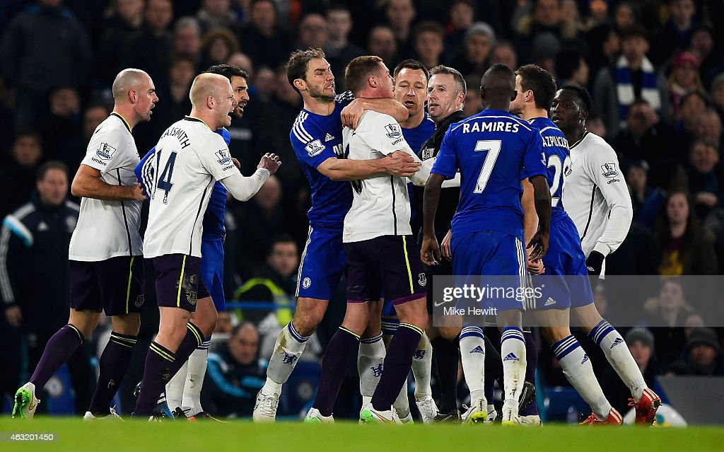 Tempers flare between <a gi-track='captionPersonalityLinkClicked' href=/galleries/search?phrase=James+McCarthy+-+Soccer+Player&family=editorial&specificpeople=8984734 ng-click='$event.stopPropagation()'>James McCarthy</a> of Everton and <a gi-track='captionPersonalityLinkClicked' href=/galleries/search?phrase=Branislav+Ivanovic&family=editorial&specificpeople=607152 ng-click='$event.stopPropagation()'>Branislav Ivanovic</a> of Chelsea during the Barclays Premier League match between Chelsea and Everton at Stamford Bridge on February 11, 2015 in London, England.