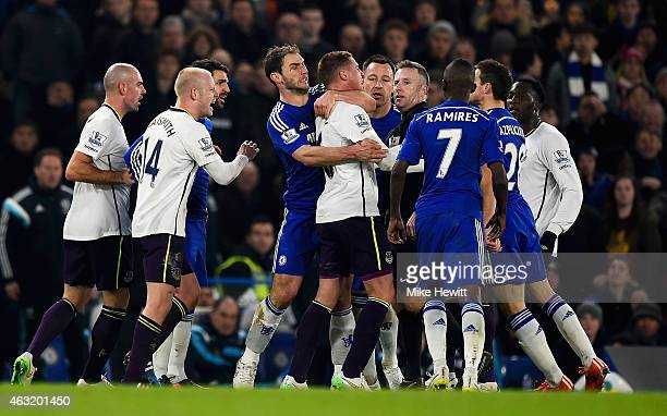 Tempers flare between James McCarthy of Everton and Branislav Ivanovic of Chelsea during the Barclays Premier League match between Chelsea and...