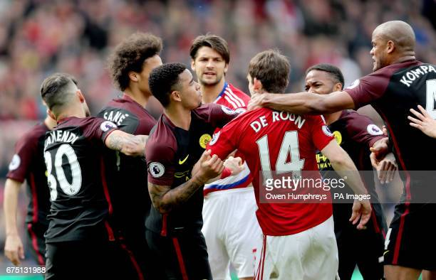 Tempers flare between Manchester City's Gabriel Jesus and Middlesbrough's Marten de Roon after a penalty is awarded to Manchester City during the...
