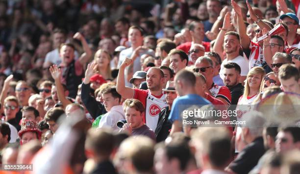 Tempers flare between the fans during the Premier League match between Southampton and West Ham United at St Mary's Stadium on August 19 2017 in...