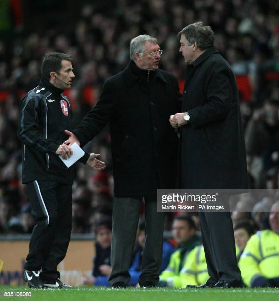 Tempers flare on the touchline between Manchester United manager Alex Ferguson and Blackburn Rovers manager Sam Allardyce during the Barclays Premier...