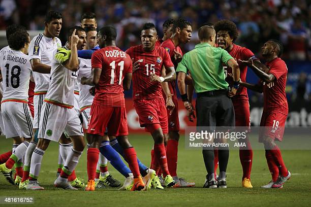 Tempers flare up after Luis Tejada of Panama was awarded a red card during 2015 CONCACAF Gold Cup Semi Final between Panama and Mexico at Georgia...