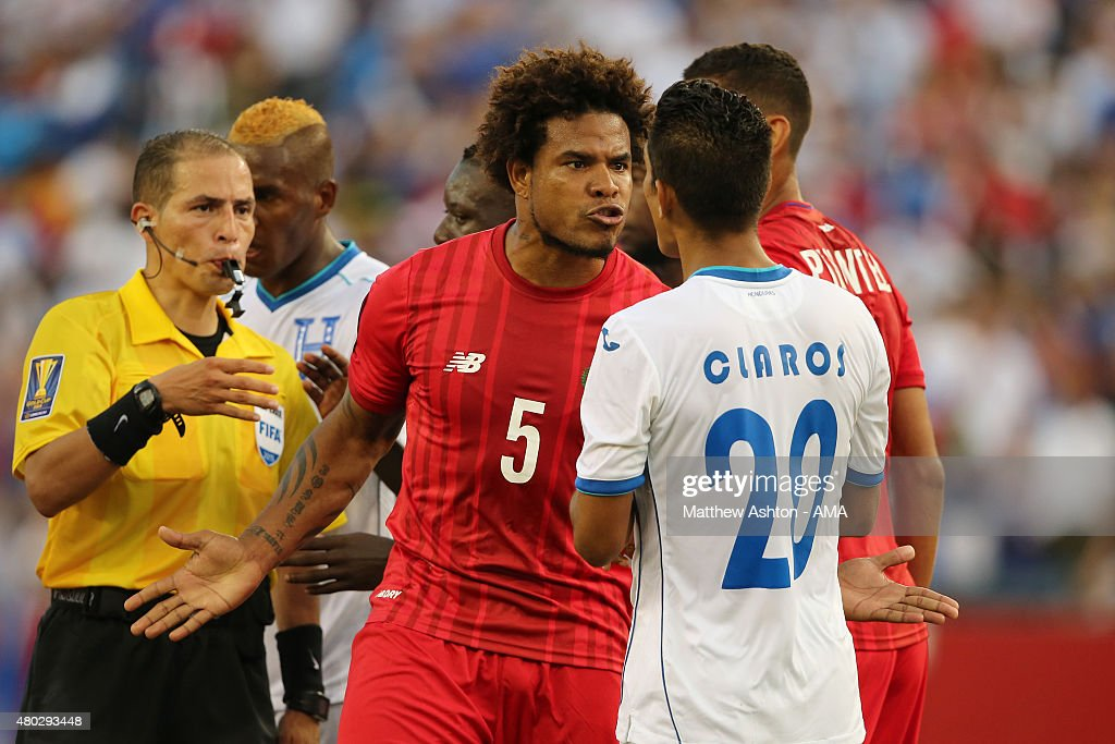 Tempers flare up as Roman Torres of Panama clashes with Jorge Claros of Honduras during the CONCACAF Gold Cup match between Honduras and Panama at Gillette Stadium on July 10, 2015 in Foxboro, Massachusetts.