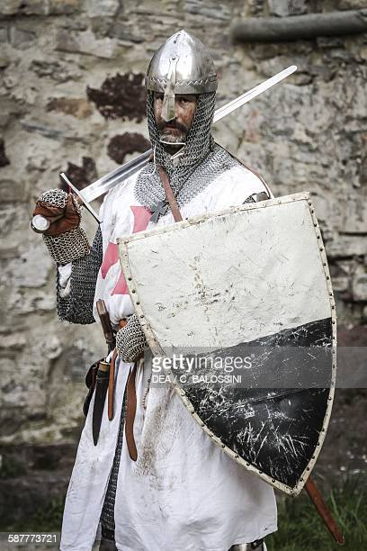 Templar knights with sword shield and chain mail 13th century Historical reenactment