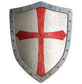 templar or crusader metal shield isolated on white