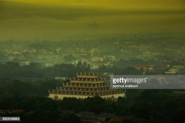 Temple and Mandalay city in early morning;Myanmar