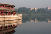 Temple buildings and lake in Beihai Park an imperial garden to the northwest of the Forbidden City in Beijing China First built in the 10th century...