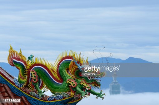 Temple Dragon Statue with Taipei 101