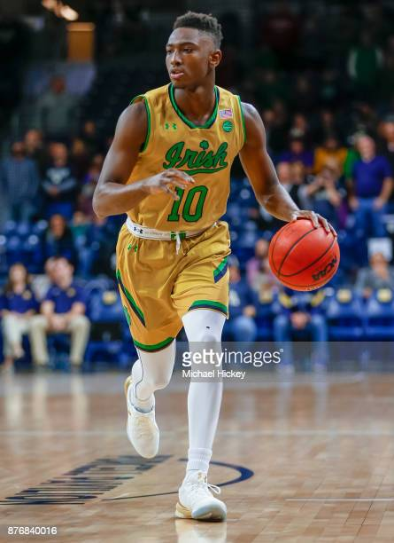 Temple Gibbs of the Notre Dame Fighting Irish dribbles the ball during the game against the Chicago State Cougars at Purcell Pavilion on November 16...