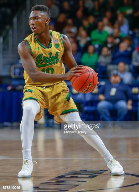 Temple Gibbs of the Notre Dame Fighting Irish holds the ball against the Chicago State Cougars at Purcell Pavilion on November 16 2017 in South Bend...