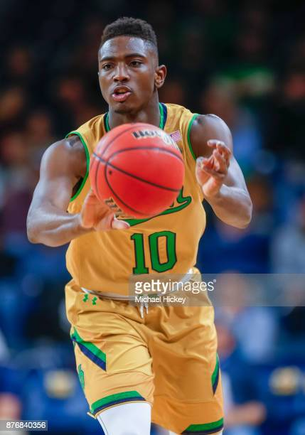 Temple Gibbs of the Notre Dame Fighting Irish is seen during the game against the Chicago State Cougars at Purcell Pavilion on November 16 2017 in...