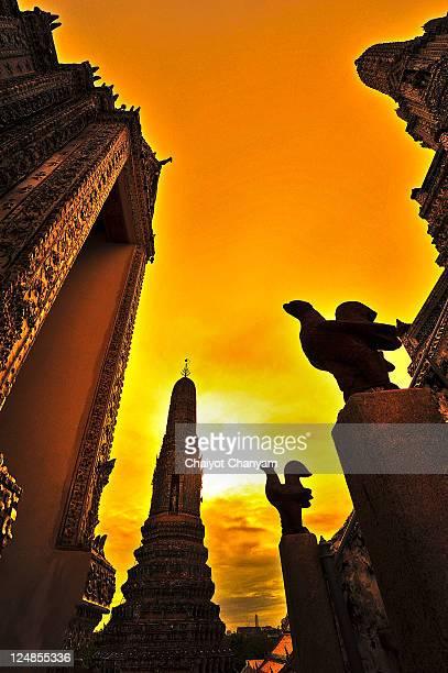 Temple in dawn, Bangkok, Thailand