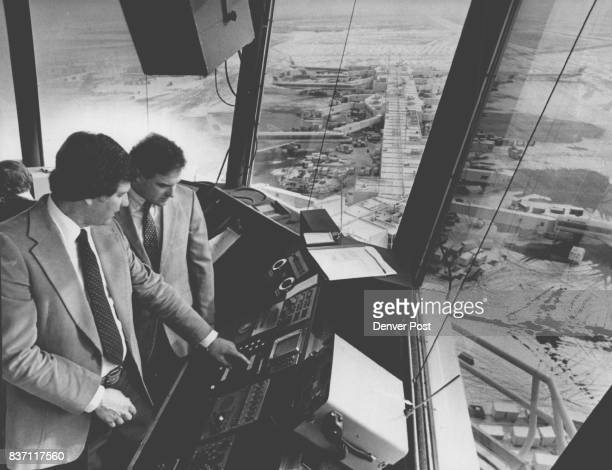 JAN 22 1982 JAN 23 1982 temple Johnson left explains Stapleton International Airport tower controls to US Rep Ken Kramer Credit Denver Post