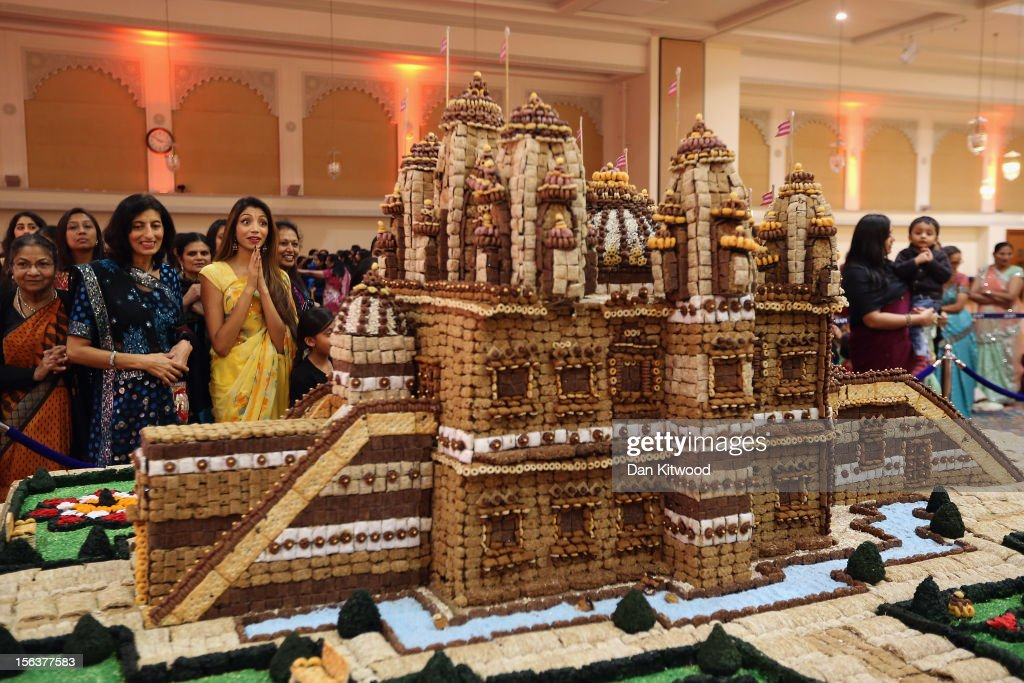A temple made from food is presented as Sadhus and Hindus celebrate Diwali at the BAPS Shri Swaminarayan Mandir on November 14, 2012 in London, England. Diwali, which marks the start of the Hindu New Year, is being celebrated by thousands of Hindu men women and children in the Neasden mandir, which was the first traditional Hindu temple to open in Europe.