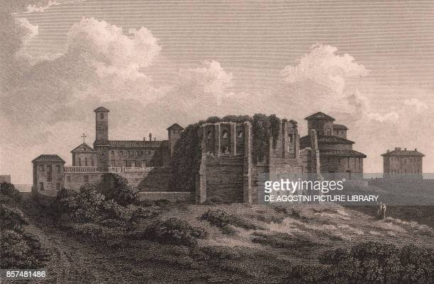 Temple of Bacchus Tivoli Lazio Italy copper engraving ca 19x15 cm from Select views in Italy with topographical and historical descriptions in...