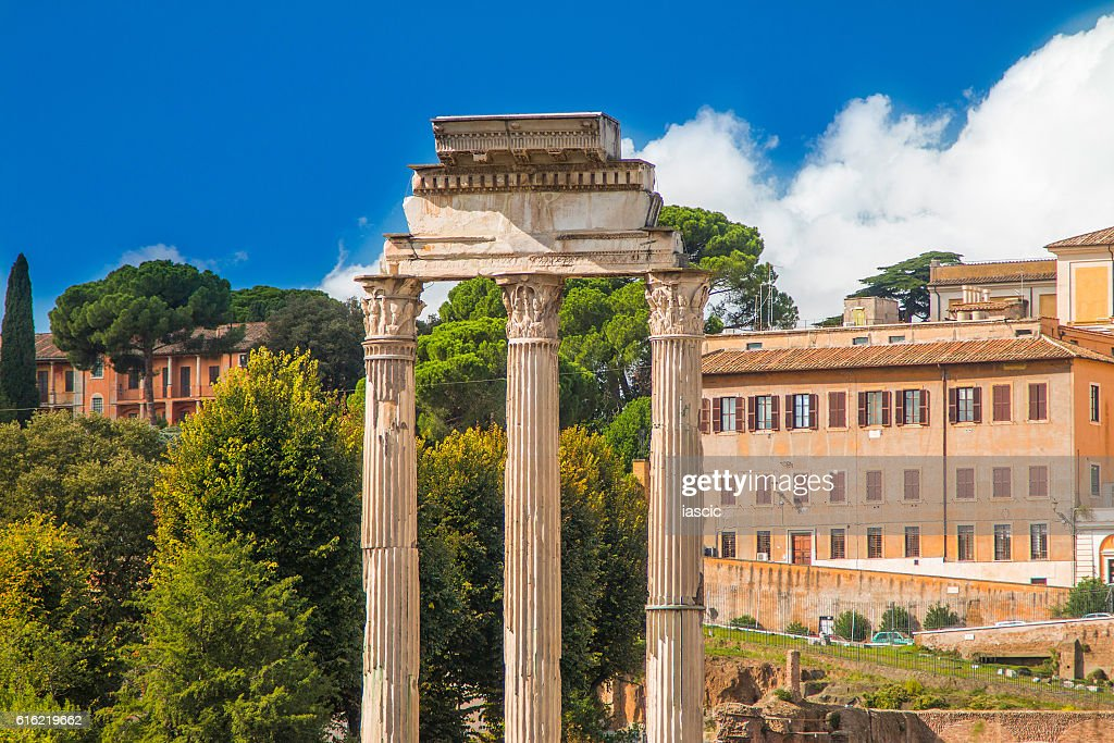 Temple of Castor and Pollux in Roman Forum, Italy : Stock Photo