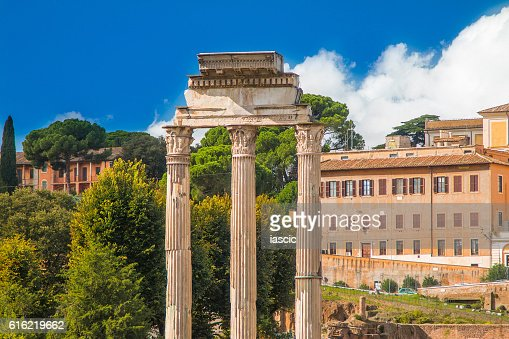 Temple of Castor and Pollux in Roman Forum, Italy : Stockfoto