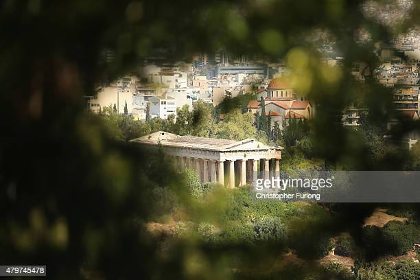 Temple of Hephaestus is seen from the hill of the Acropolis on July 7 2015 in Athens Greece Greek Prime Minister Alexis Tsipras is working on new...