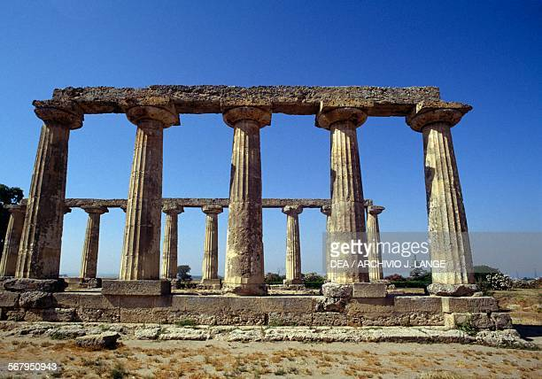Temple of Hera or Palatine Tables in Doric style 6th century BC archaeological area of Metapontum Bernalda Basilicata Italy