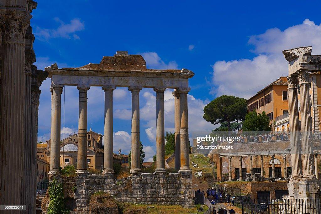 Temple of Saturn Septimius Severus Arch Roman Forum Rome Lazio Italy
