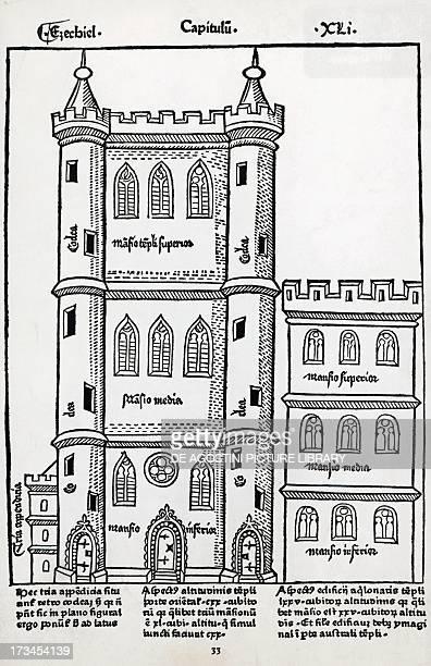 Temple of Solomon engraving from Postilla super totam Bibliam Nicolas de Lyre 1485 15th century