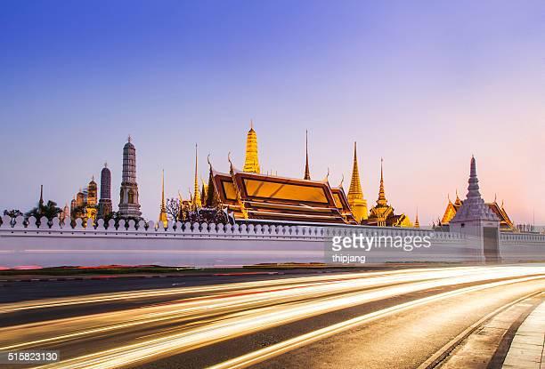 Temple of the Emerald Buddha (Wat Phra Kaew),Grand palace at twilight in Bangkok, Thailand.
