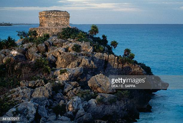 Temple of the God of Winds and Beach archaeological site of Tulum Quintana Roo Mexico Mayan civilisation
