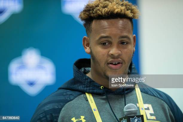Temple offensive lineman Dion Dawkins answers questions during the NFL Scouting Combine on March 2 2017 at Lucas Oil Stadium in Indianapolis IN