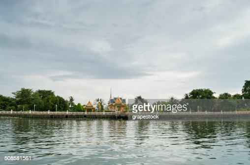 Temple on the riverside in Bangkok : Stock Photo