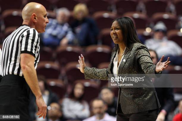 Temple Owls head coach Tonya Cardoza complains to the referee during the second half the American Athletic Conference Women's semifinal game between...