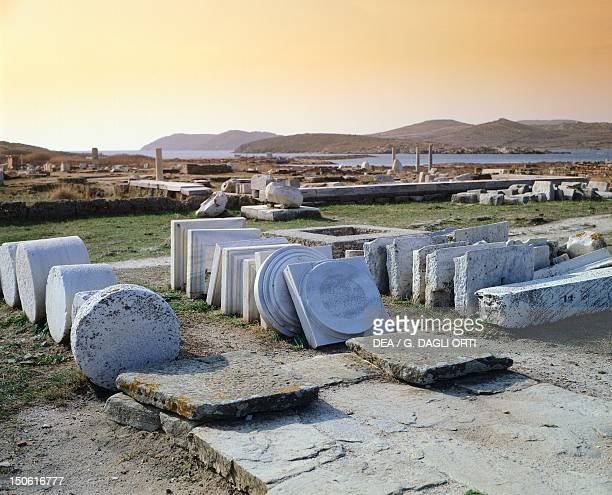 Temple ruins and marble columns near the sacred lake in Delos Cyclades Islands Greece Greek civilization