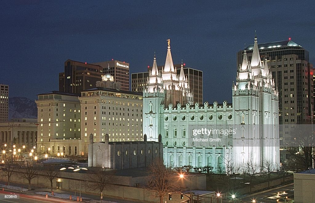 Temple Square is illuminated by tinted lights January 31 2001 in downtown Salt Lake City UT The LDS Church brings in 59 billion dollars annually 53...