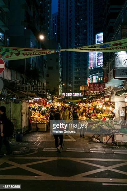 Temple street market during night