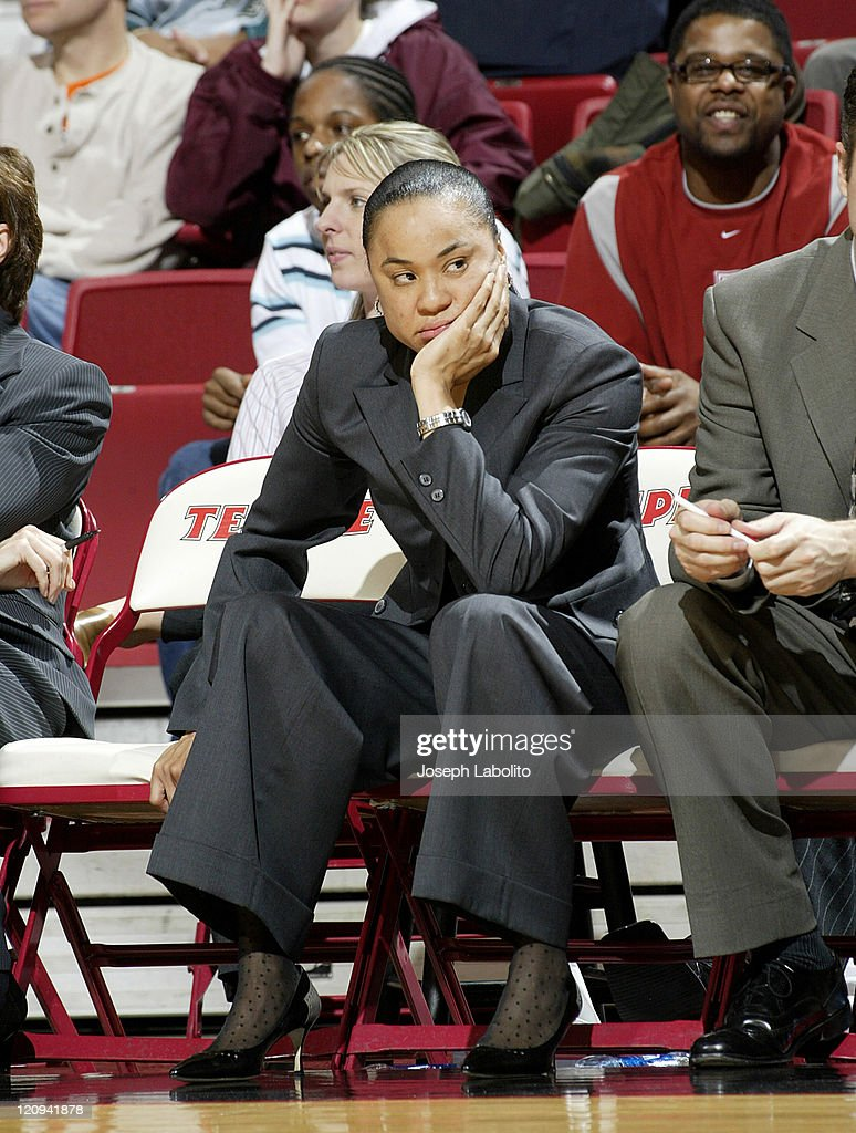 Temple's Head Coach <a gi-track='captionPersonalityLinkClicked' href=/galleries/search?phrase=Dawn+Staley&family=editorial&specificpeople=209196 ng-click='$event.stopPropagation()'>Dawn Staley</a> dosn't like the call during a Temple Owls 59 to 43 victory over the University of Massachusetts Minutewomen at the Liacouras Ctr in Philadelphia, Pennsylvania on January 4, 2005