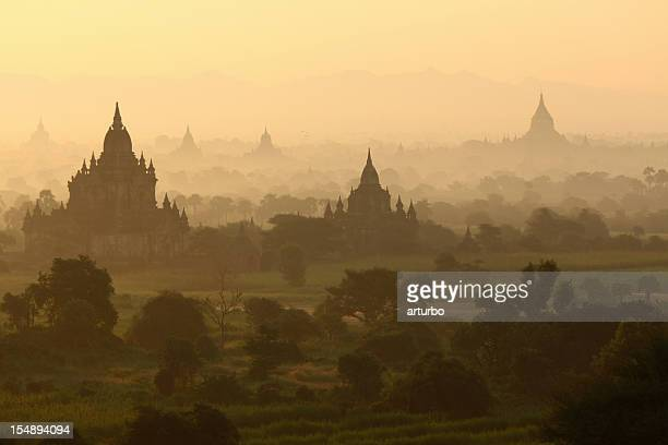 temples just after sunrise in Bagan