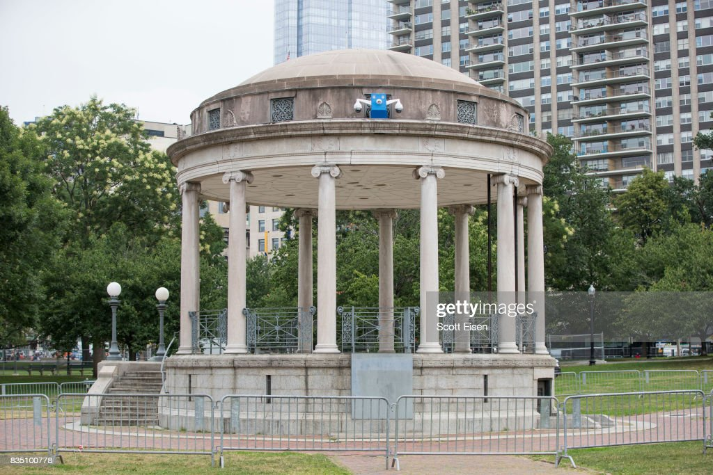 Temporarily installed surveillance cameras atop of the Boston Common Bandstand where a 'Free Speech' rally is scheduled and a large rally against hate in solidarity with victims of Charlotestville will converge Saturday, on August 18, 2017 in Boston, Massachusetts.
