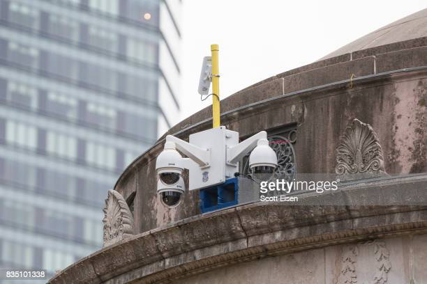 Temporarily installed surveillance cameras atop of the Boston Common Bandstand where a 'Free Speech' rally is scheduled and a large rally against...
