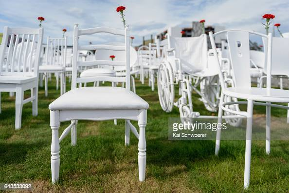 A temporary art installation featuring 185 empty chairs to represent the loss of lives following the 2011 Christchurch Earthquake is seen prior to a...