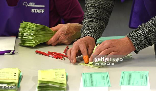 Temporary Australian Electoral Commission workers count votes in Sydney on July 5 2016 Australian leader Malcolm Turnbull took full responsibility on...