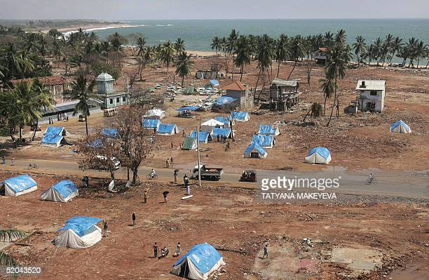 A temporary camp is seen on the beach of the Sri Lankan town of Hambantota 250 kms south of Colombo 21 January 2005 Tens of thousands of Sri Lankans...